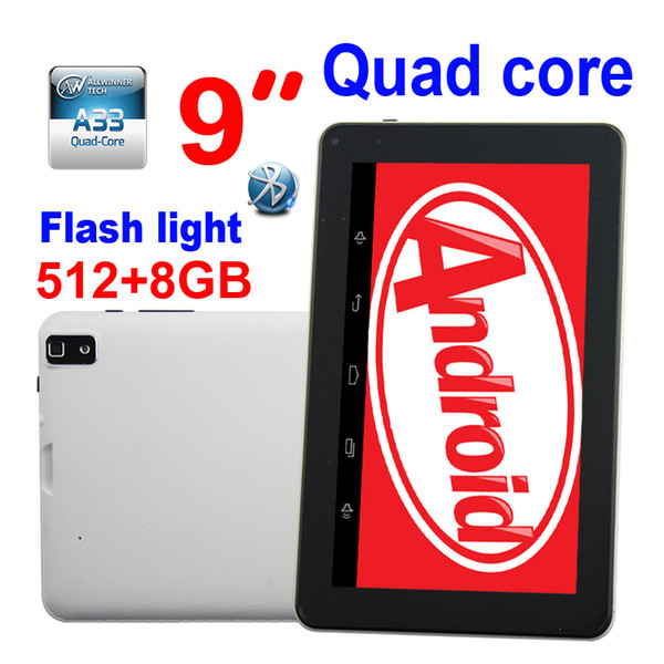 top popular Android 4.4 9 inch Allwinner A33 Dual Cameras Tablet PC Google Flashlight 512MB 8GB Bluetooth Wifi leather back Free Shipping by DHL 30pcs 2020