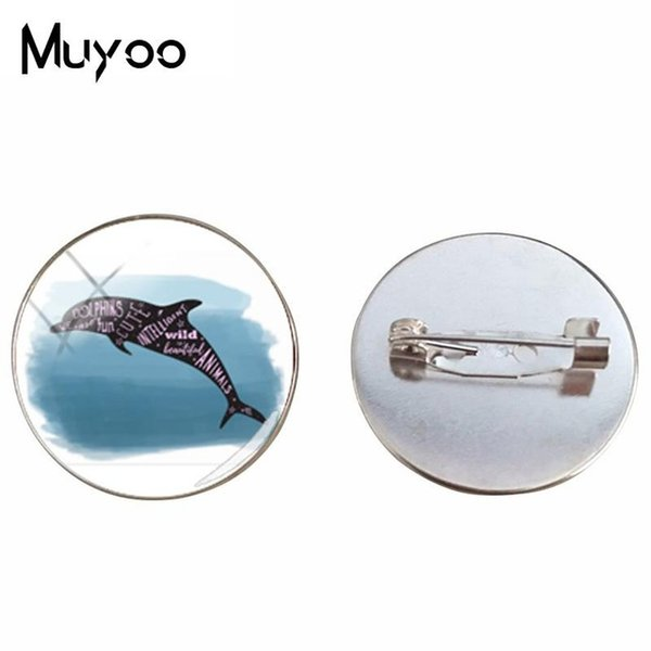 2019 New Style Dolphin Painting Brooch Pins Cute Dolphin Brooches Gifts For Women Cartoon Art Printed Photo Glass Brooch Pin