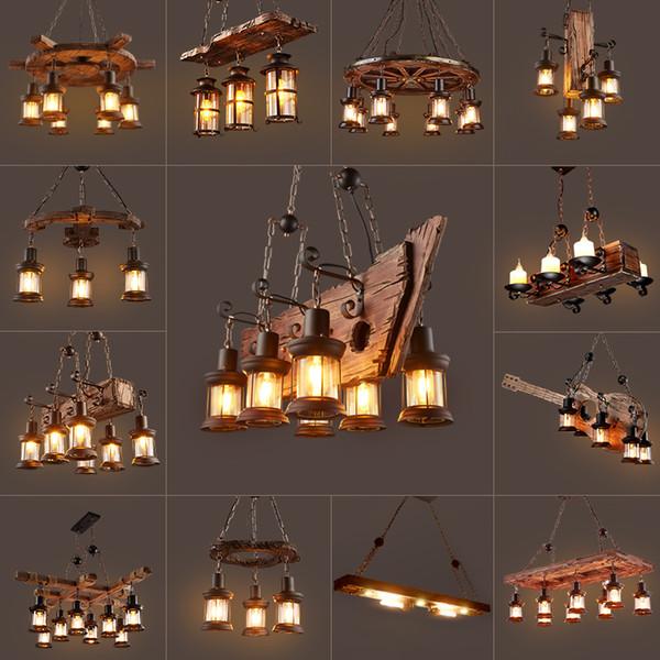 Wooden Chandelier Kitchen Bar Dining Room Salon Lustre Suspension  Industrial Vintage Loft Chandelier Luminaire Light Fixtures Outdoor Pendant  Lighting ...