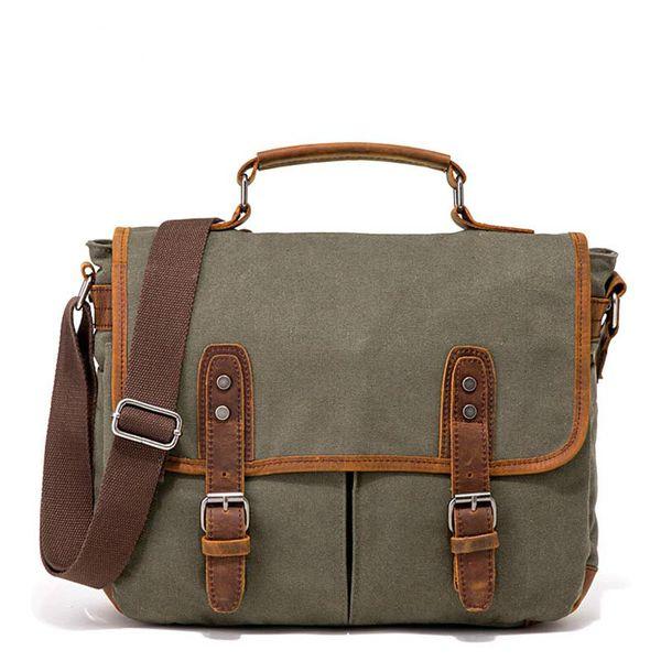 Briefcase Men Canvas Vintage Men Messenger Bags Fashion Male Messenger Bag with leather Business Bags Briefcase