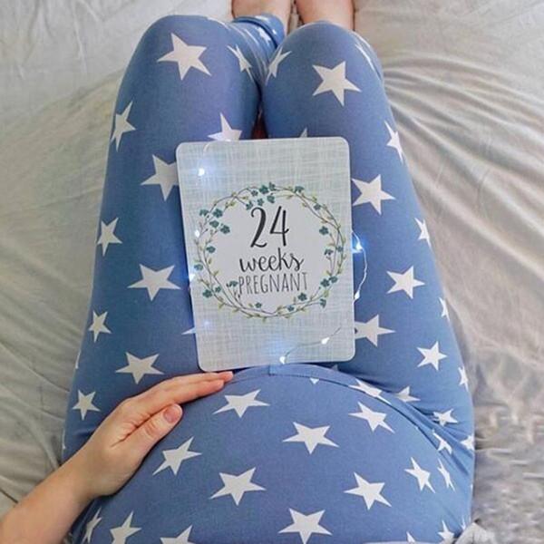 Pregnant Woman Printing Leggings Star Pants Milk Silk Trousers Pencil Pants Breathable Slim Leggings Slim Pants 15