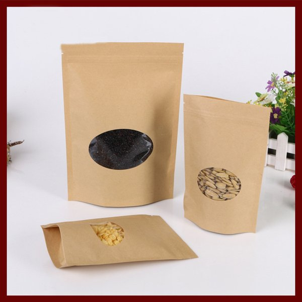 100pcs/lot Brown kraft paper bag with round window stand up Zipper/zip lock Jewelry packaging bag paper bags for gifts/tea bags