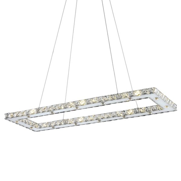 Rectangle Modern LED Chandelier For Dining Room Kitchen Island Modern Crystal Light Mirror Stainless Steel Hanging Lamp