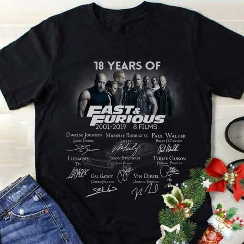 the fast and the furious 18 years - t-shirt streetwear funny print clothing hip- mans t-shirt  tees