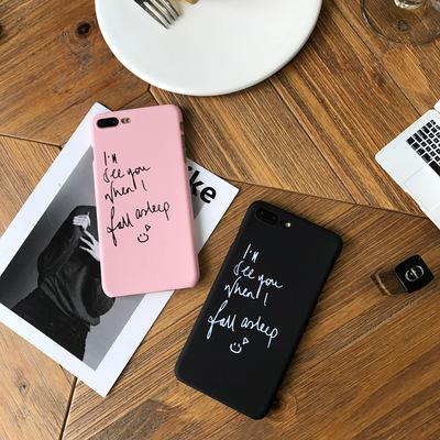 Solid Color Simple English Frosted Crashproof Hard Back Cover PC Cell Phone Case Protective Covers For iPhone 6 6S 7 8 PLUS