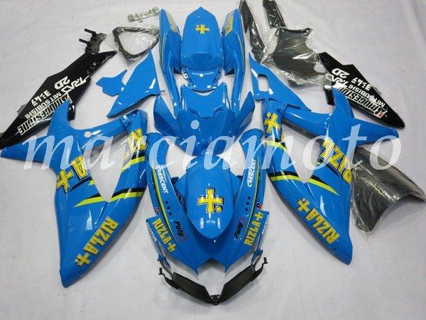 New (Injection molding) ABS Fairing Kits Fit For Honda Suzuki GSXR 600-750 2008 2009 2010 gsxr600-750 Fairings set blue no5