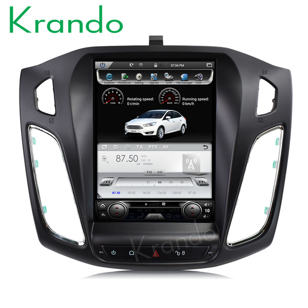 """Krando Android 7.1 10.4"""" Vertical screen car DVD radio player GPS for Ford Focus 2012+ multimedia navigation system stereo with Bluetooth"""