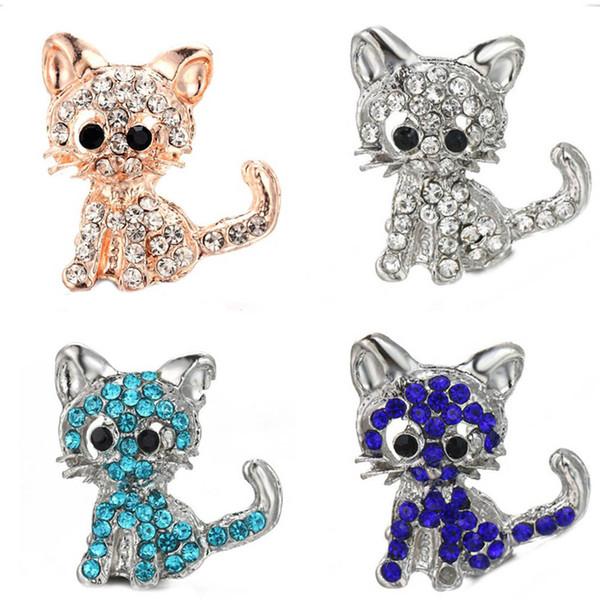 10pcs/lot 2019 New Snap Jewelry Rose Gold Heart Rhinestone Cat 18mm Metal Snap Buttons Fit Bracelet Bangle