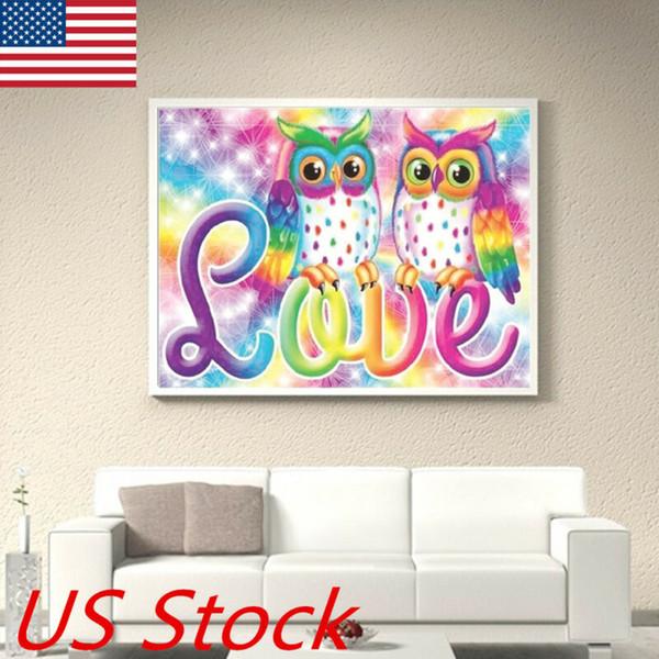 Tout neuf et de haute qualité Owl Bricolage pleine Drill diamant Peinture Croix Kits Point Home Decor Craft Cadeau USA
