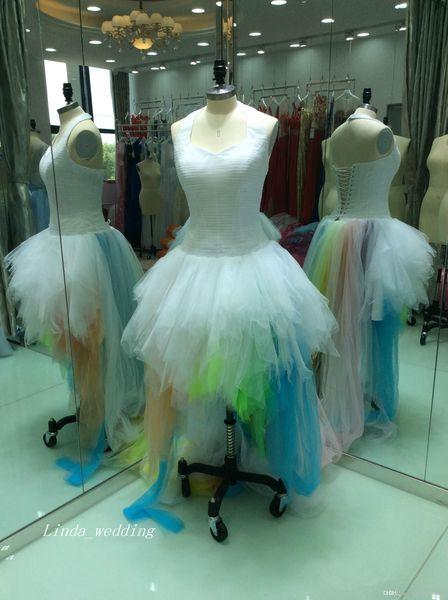 2019 images réelles arc-en-robe de bal robe de mariage robe dos nu dos nu à volants Tulle robe de mariée plus la taille sur mesure robe faite de noiva