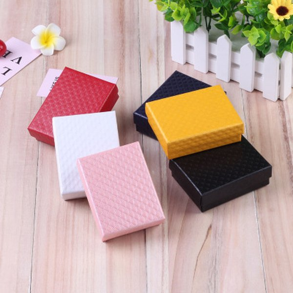 24Pcs/lot Diamond Pattern 7x9cm Jewelry Gift Box Jewellery Paper Packaging Necklace Ring Earrings Display Box with Black Sponge