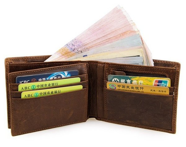 Natural Genuine Leather Men Wallets Fashion Splice Dollar Purse Top Quality