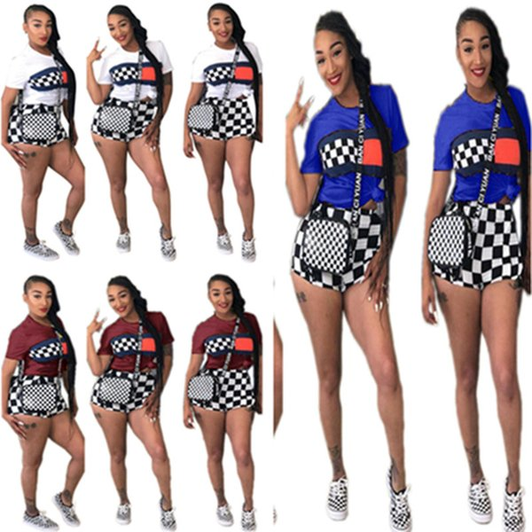 Summer Women Shorts Set Grid Tracksuit Black And White Grid T shirt + Shorts Short Sleeve Outfits Plus Size Sportswear Street Suits B3181