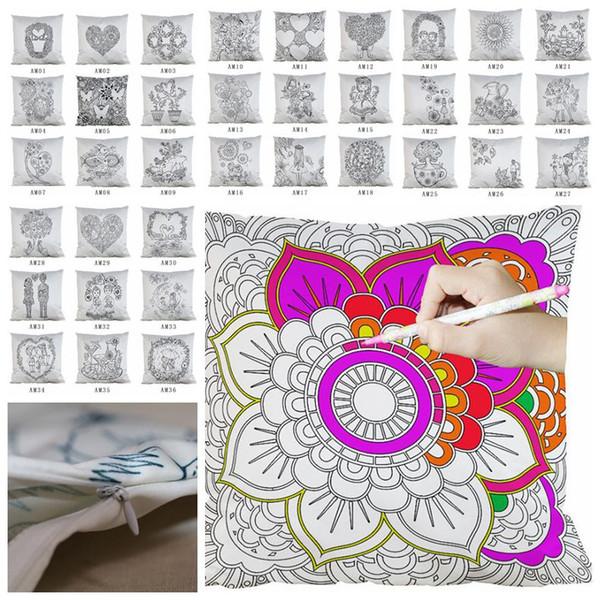 Diy pintura plaza casa funda de almohada mandala bricolaje flores cubierta del amortiguador hogar decorativo para colorear vacío funda de almohada CCA10767 30 unids