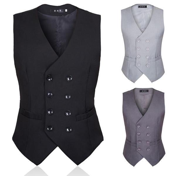 2019 Mejora la armadura de traje de otoño para hombres Estilo británico y versión coreana de chaleco de traje negro para hombres con doble botonadura