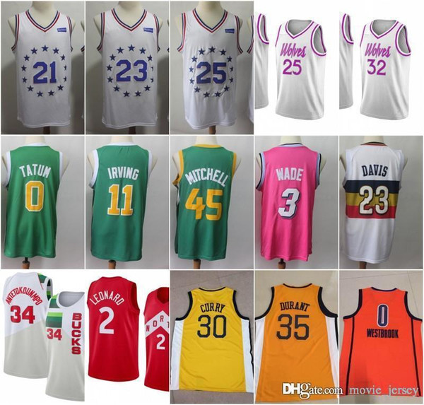 51e1ce3b542 2019 New Earned Edition 0 Tatum 11 Kyrie Jayson Irving Jersey 30 Curry 35  Kevin Stephen