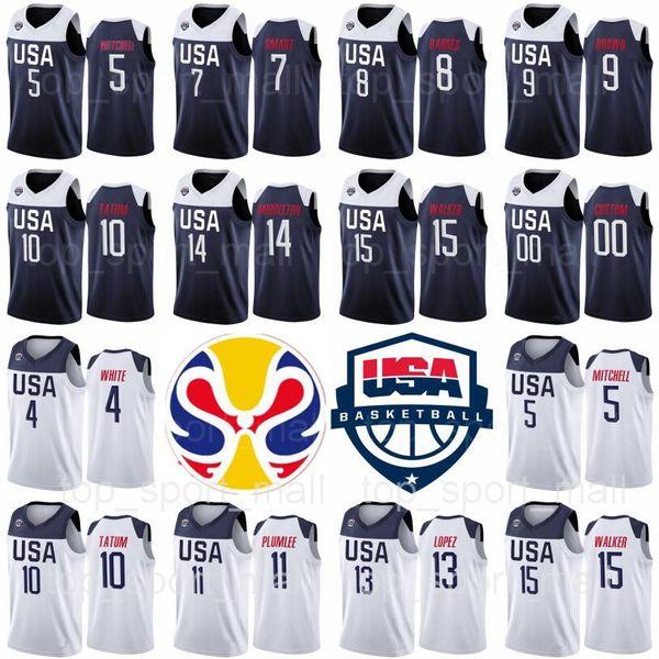 Equipo de baloncesto de la Copa Mundial de 2019 EE. UU. Jersey 5 Donovan Mitchell Kemba Walker 15 9 Jaylen Brown 10 Jayson Tatum 7 Marcus Smart 4 Derrick White
