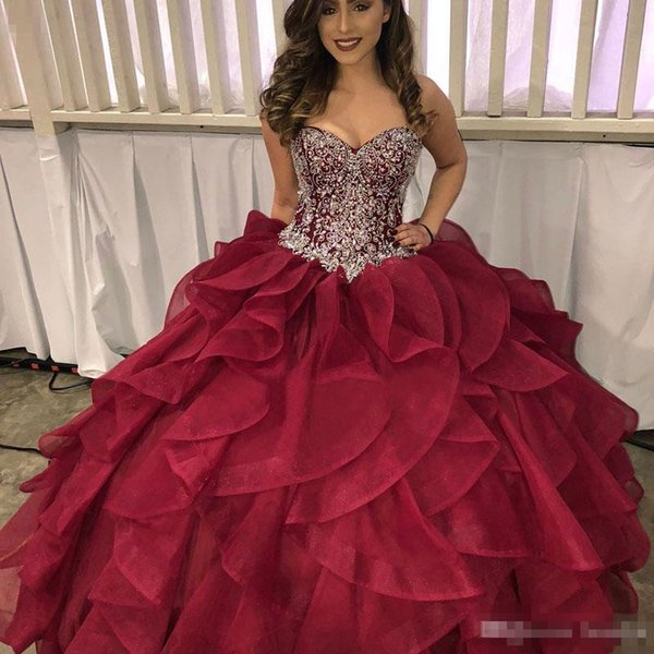 0625ac3ec93 Luxury Crystals Beading Quinceanera Dresses Sweetheart Corset Burgundy Organza  Princess Sweet 16 Ball Gown 2018 Prom