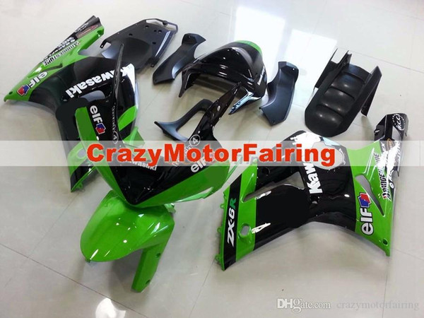 3 Free gifts New Fairing kits for 03 04 ZX 6R 636 2003 2004 Ninja ZX6R ZX636 ABS fairings Body kits Cool black green elf