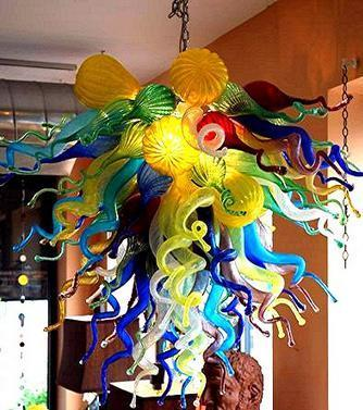 top popular 100% Mouth Blown CE UL Borosilicate Murano Glass Dale Chihuly Art Colorful Murano Chandelier for Low Ceiling 2021