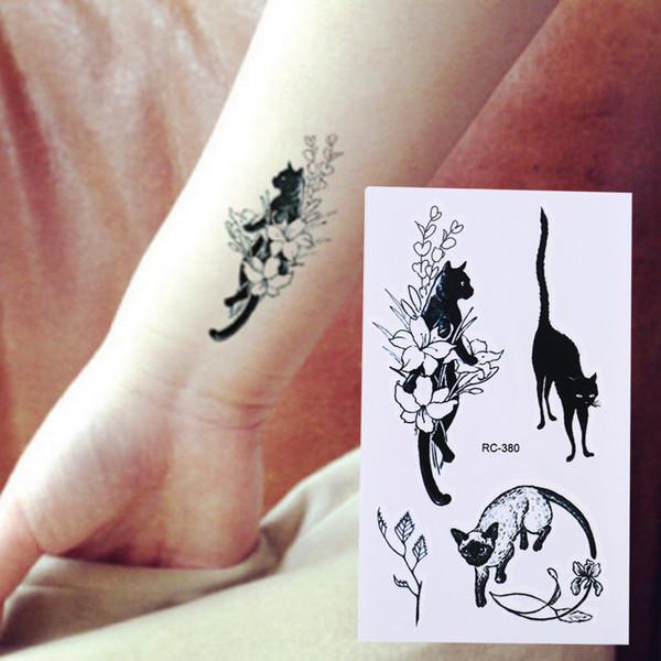 Sexy Black Cats Temporary Tattoo Body Art Arm Flashc10.5*6cm Waterproof Fake Henna Painless Tatto Sticker