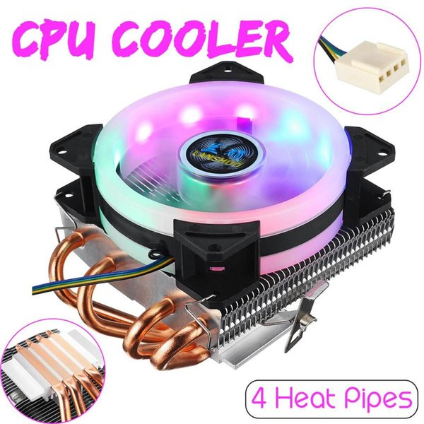 CPU Cooler 4 Copper Heatpipes with RGB Fan Cooler Heatsink 4pin CPU Cooling Fan for Intel 775/1150/1151/1155/1156/1366 for AMD