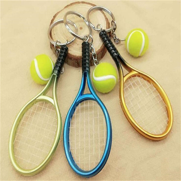 Lovely Mini Tennis Racket Pendant Keychain Key Accessory Keyring Perfect Gifts