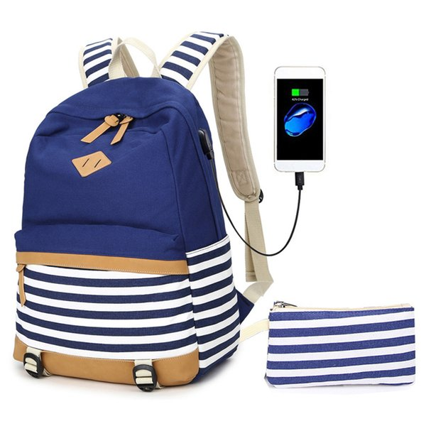 Women Men School Bag Adjustable Strap Backpack Laptop Canvas Pencil Case Zipper With USB Port Striped Travel Casual