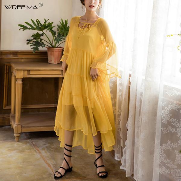 2019 spring New woman Chiffon dress yellow red Bohemian summer beach pleated maxi dress runway cascading ruffle vestidos bodycon