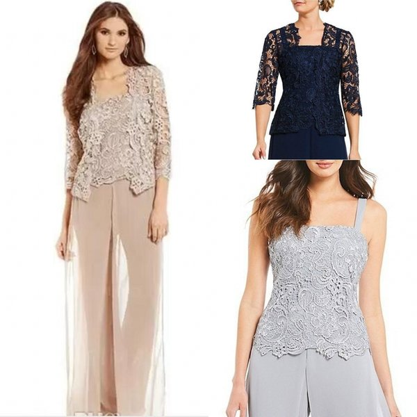 Vintage Silver Plus Size Mother Of Bride Pant Suit With Lace Jacket Chiffon Formal Mothers Outfit Special Occasion Mother's Garment DH5112