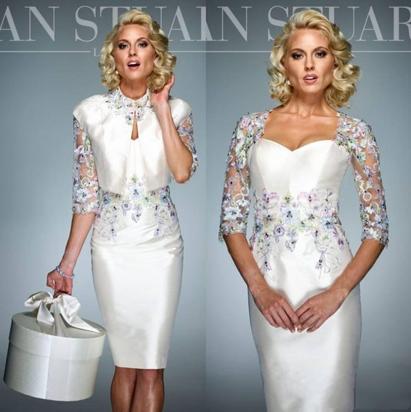 Elegant White Short Sheath Mother Of The Bride Dress Suits New 2019 Lace Applique Fashion Knee Length Groom Mothers Wedding Guest Dresses