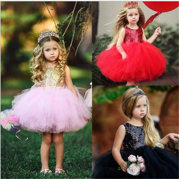 3 Color Girl lace paillette camisole dress 2019 New kids baby princess party bowknot Rainbow colors sleeveless tutu Dress skirt DC054