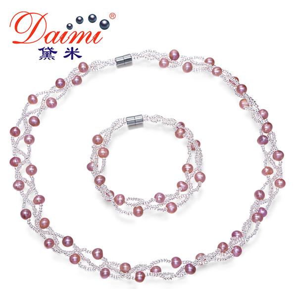 DMSFP039 Set di gioielli naturali collana di perle gioielli da sposa braccialetto, 5-6mm set di gioielli di perle coltivate