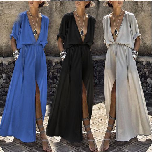 Женщины Глубокий V Solid Длинное платье Лето Повседневная Свободные Сплит Up Дизайнерские пляжные платья