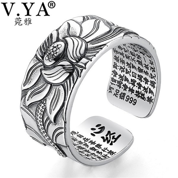 V.ya 100% Real 999 Pure Silver Jewelry Lotus Flower Open Ring For Men Male Fashion Free Size Buddhistic Heart Sutra Rings Gifts T7190613