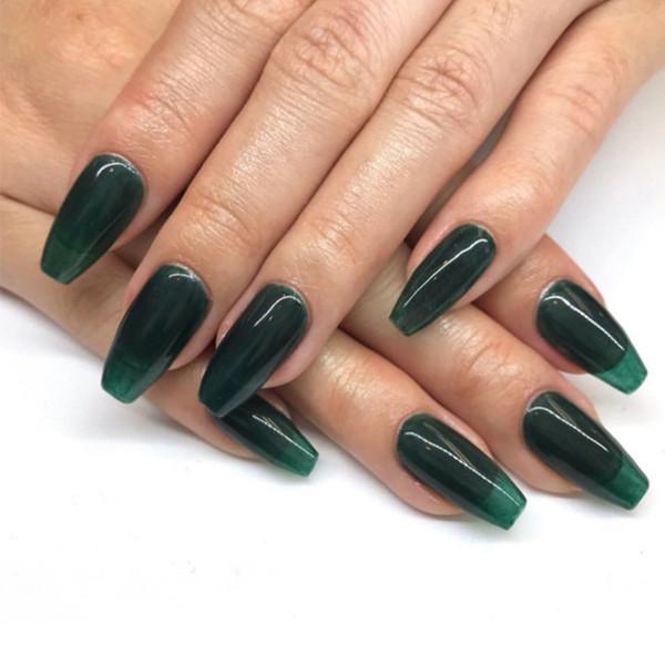 Pure Green Color Fake Nails Set Ins Green Square Head Press On Nails Long  Coffin With2g Nail Glue Faux Ongles Long Buy False Nails False Nails Advice