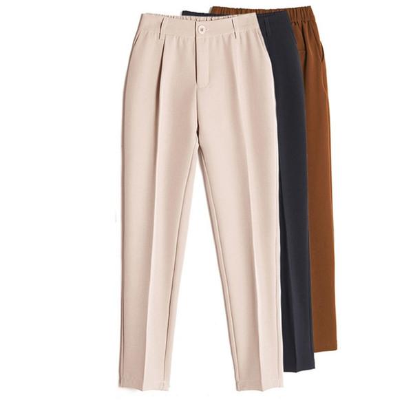 Kadın Casual Harem pantolonları İlkbahar Yaz Moda Gevşek Ayak bileği uzunlukta Pantolon Kadın Klasik Yüksek Elastik Bel Siyah Deve Bej