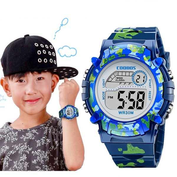 Navy Blue Camouflage Kids Watches LED Colorful Flash Digital Waterproof Clock For Boys Girls Date Week Creative Children's