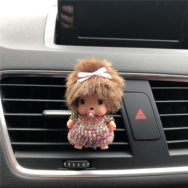 best selling NEW Rhinestone Kiki Car Perfume Outlet Perfume Clip Lady Car Air Cleaner Cute Little Monkey Styling chichi Solid Perfume