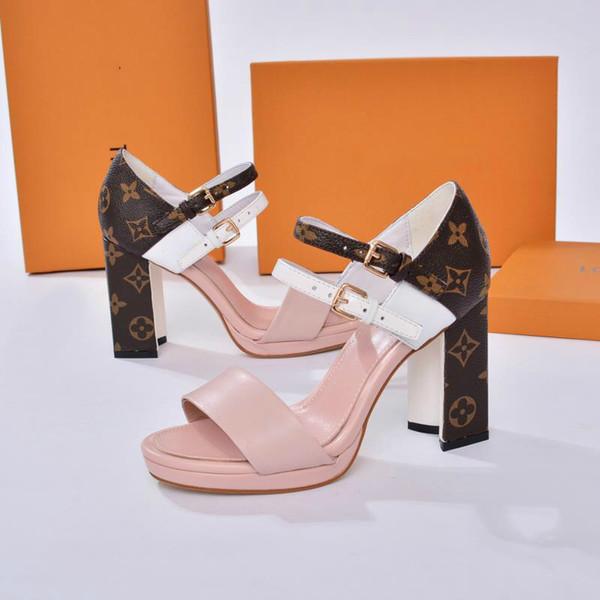 Patlama modelleri sandalet moda bayan ayakkabıları 35-41 high-end lüks kalite yüksek topuklu kalın ile klasik sıcak fabrika doğrudan satış