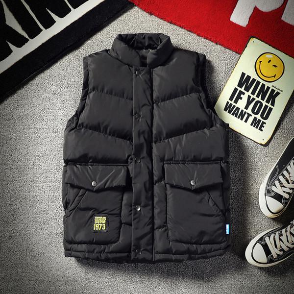 Men Winter Vest Boy's Thermal Waistcoat Down Cotton Vest Jacket Male Thicken Parkas 2019 New 5XL XXXXL XXXL XXL BLACK GRAY