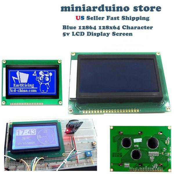 ELEG-12864 128x64 Nokta Grafik Mavi Renk Aydınlatmalı LCD Ekran Modülü arduino için