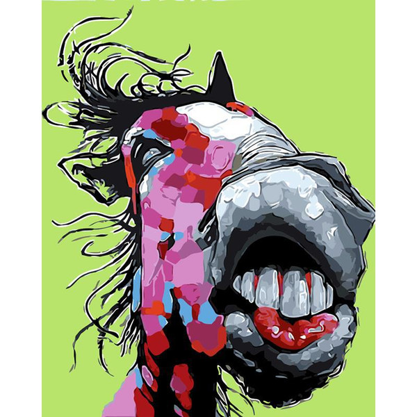 best selling DIY Oil Painting By Numbers Big mouth Horse 50*40CM 20*16 Inch On Canvas For Home Decoration Kits for Adults [Unframed]