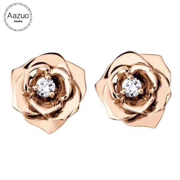 Aazuo Gerçek 18 k Rose Gold Gerçek Elmas Klasik Romantik Gül Çiçek Saplama Küpe Kadınlar Düğün Için Hediye Au750 Gerçek Altın ...