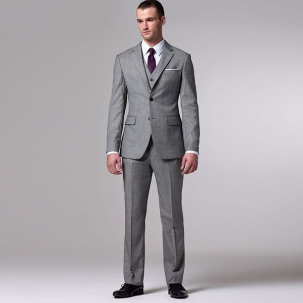 Gray Groom Suit Custom Made Grey Two-Toned Woven Wedding Suits For Men Bespoke Vintage Tuxedo Mens Suits