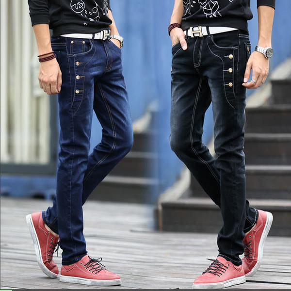 Jeans da uomo Autunno Inverno Stretch Blu scuro Pantaloni casual da lavoro in denim Pantaloni lunghi a graffi sottili Cowboy gentiluomo 36