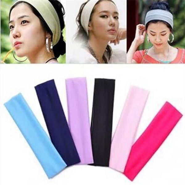 New Women fashion plain Wide Hair Band Sports Yoga Elastic headbands Ladies Hair Ornament bandeau T9C001