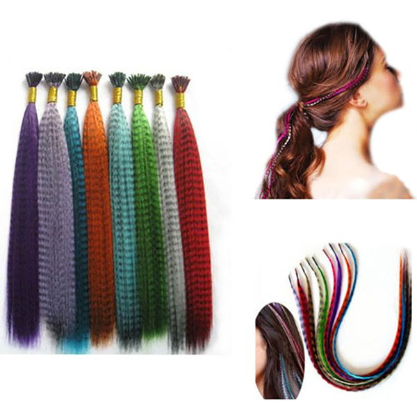 10pcs Colorful Charming Grizzly Feathers Hair Extensions Long Straight Natural Hairdressing Accessories Tool 2019 New Arrival
