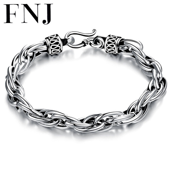 FNJ 925 Sterling Silver Bracelet Men Jewelry Big Statement 6mm 8MM Rope 17-25cm Chain 100% Real S925 Thai Silver Bracelets
