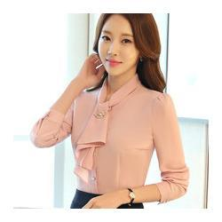 Moda manga larga mujer camisa delgada blanca rosa color sólido elegante volantes gasa blusa damas de oficina formal más tamaño tops
